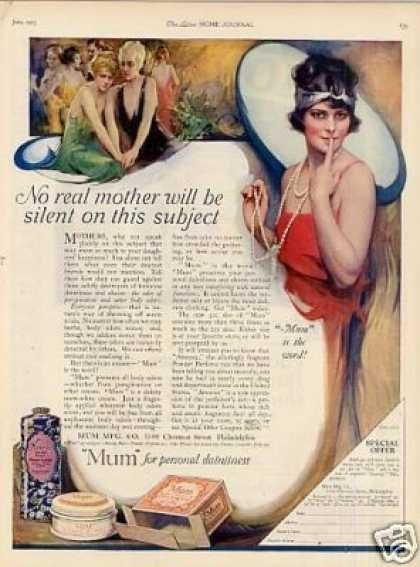 Mum Deodorant Color Ad &quot;No Real Mother... (1923)