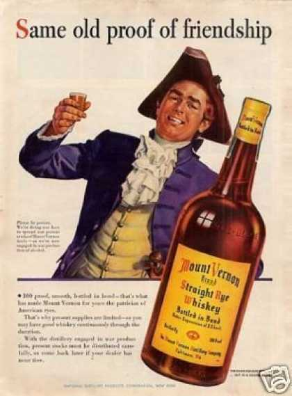 Mount Vernon Straight Rye Whiskey (1943)