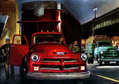 Most Trustworthy Trucks on Any Job! Chevrolet (1954)