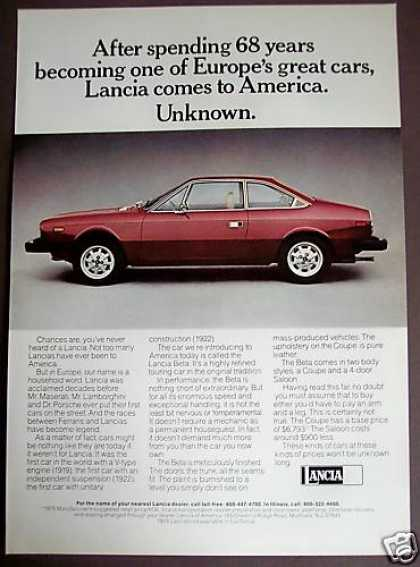 Original Lancia Beta Car Auto (1975)