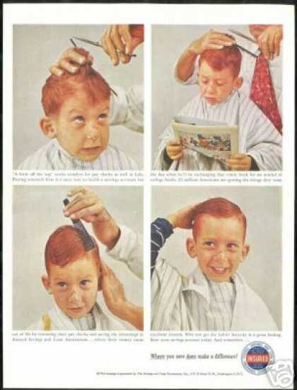 Redhead Boy Haircut Barber Savings Loan (1959)