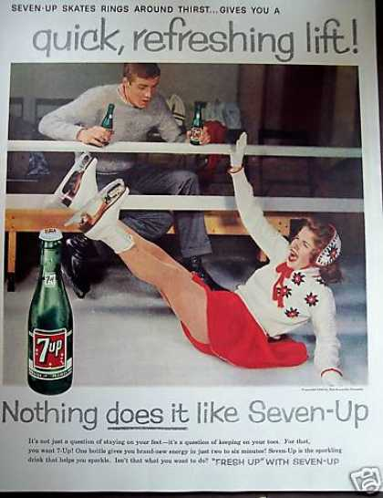 Ice Skating Photo Seven-up 7-up Retro Soda (1959)