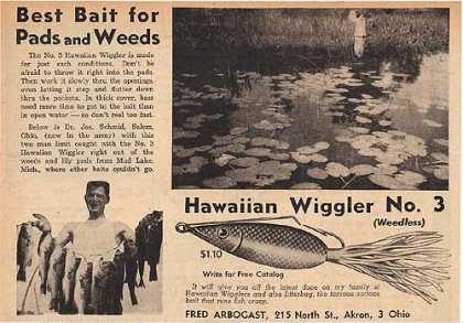 Arbogast's Hawaiian Wiggler No. 3 Weedless (1945)