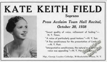 Kate Keith Field Photo Soprano Rare Booking (1939)