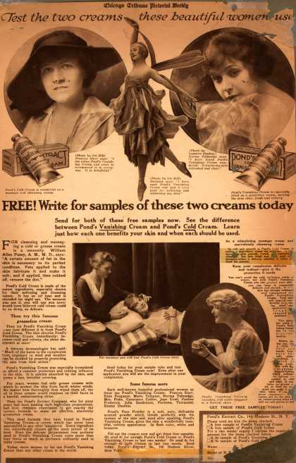 Pond's Extract Co.'s Pond's Cold Cream and Vanishing Cream – Free! Write for samples of these two creams today (1916)