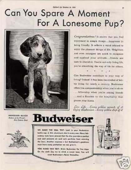 "Budweiser Beer Ad ""Can You Spare a Moment... (1939)"