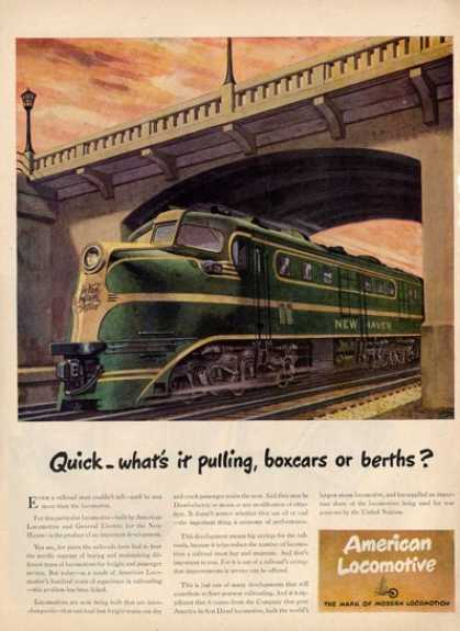 American Locomotive Rail Road Train Ad T (1945)