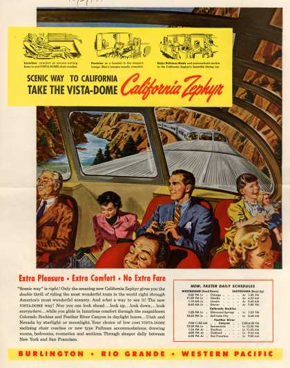 Burlington, Rio Grande, Western Pacific's Passenger Rail Service – Scenic Way to California take the Vista-Dome California Zephyr (1949)