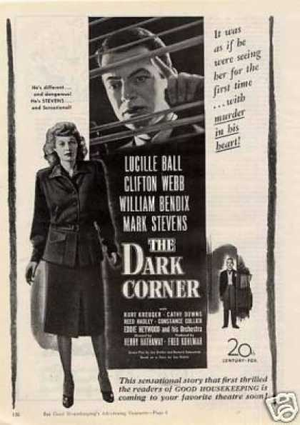 "Movie Ad ""The Dark Corner"" Lucille Ball (1946)"