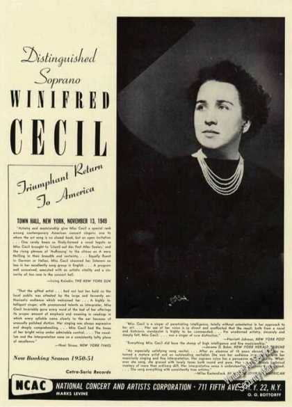 Winifred Cecil Photo Soprano Rare Music (1950)