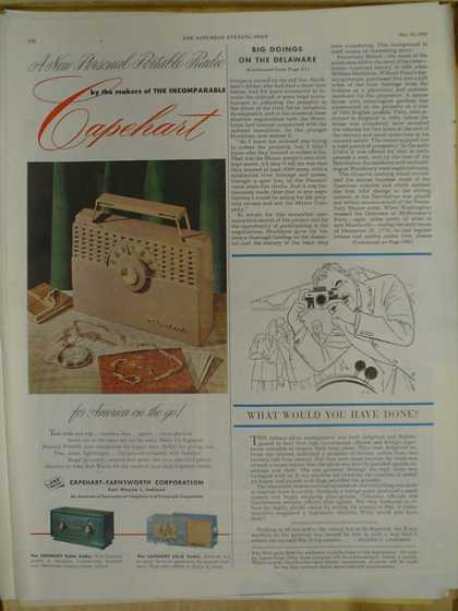 Capehart portable radio. Capehart Farnsworth Corporation (1952)