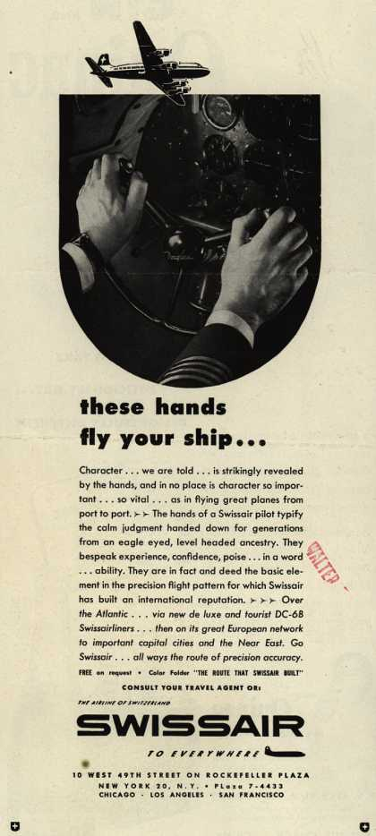 SwissAir's Swissair – These hands fly your ship... (1953)