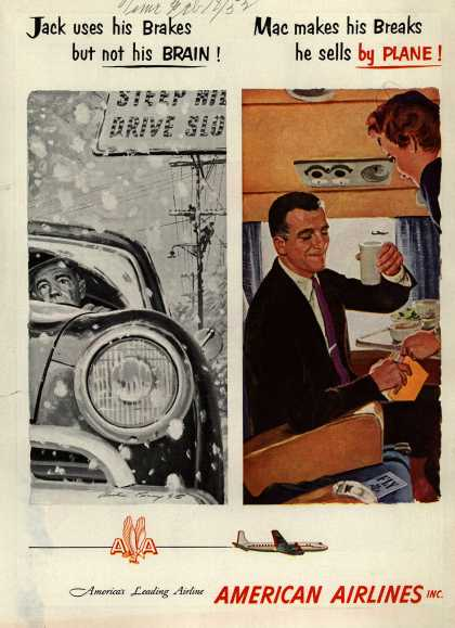 American Airline's Business Travel – Jack uses his brakes but not his brain... Mac makes his breaks, he sells by plane (1952)