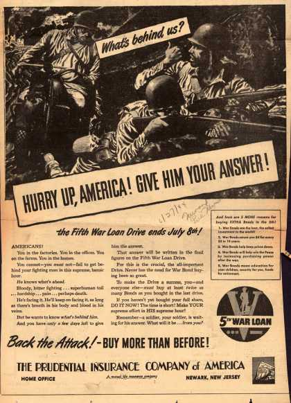 U. S. Treasury Dept.'s 5th War Loan – Hurry Up, America! Give Him Your Answer (1944)