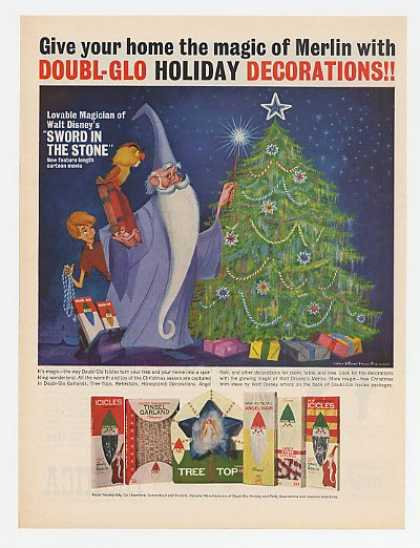 Doubl-Glo Holiday Decorations Merlin Disney art (1963)