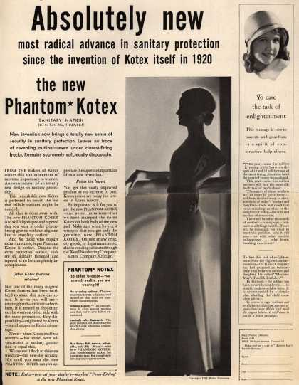 "Kotex Company's ""Phantom"" Kotex Sanitary Napkins – Absolutely new (1932)"