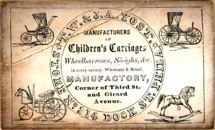 T. W. & J. A. Yost's carriages, wheelbarrows, sleighs – T. W. & J. A. Yost, Manufacturers of Children's Carriages, Wheelbarrows, Sleighs, &c.