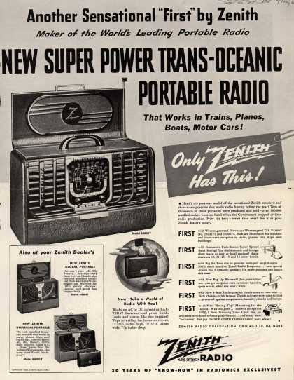 Zenith Radio Corporation's Portable Radio – NEW SUPER POWER TRANS-OCEANIC PORTABLE RADIO (1946)