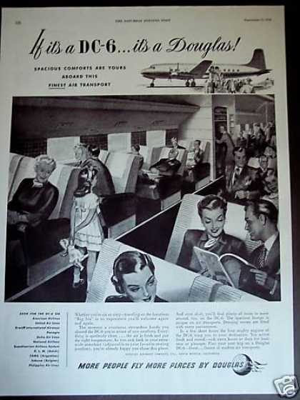 Douglas Dc-6 Plane Airplane Passengers (1948)