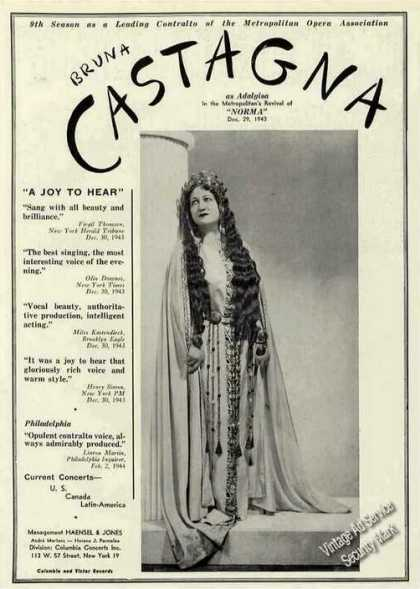 Bruna Castagna As Adalgisa Opera Trade (1944)