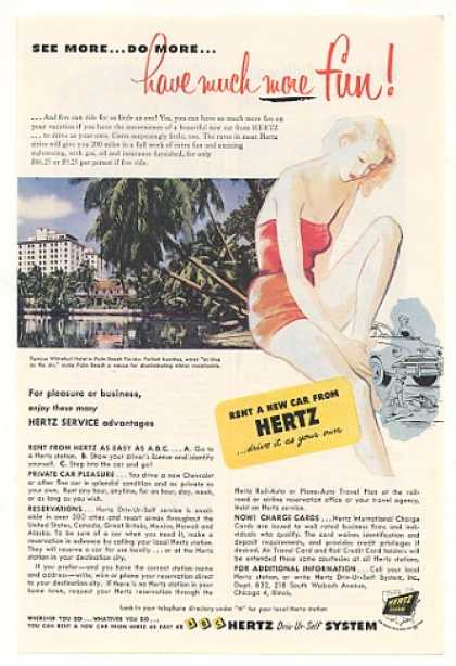 Whitehall Hotel Palm Beach FL Hertz Rent a Car (1952)