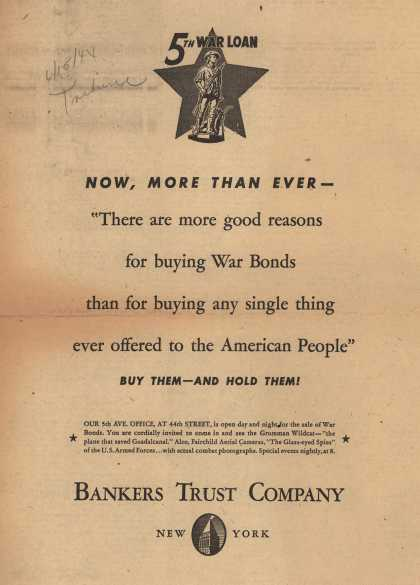 Bankers Trust Company's 5th War Loan – Now, More Than Ever - (1944)