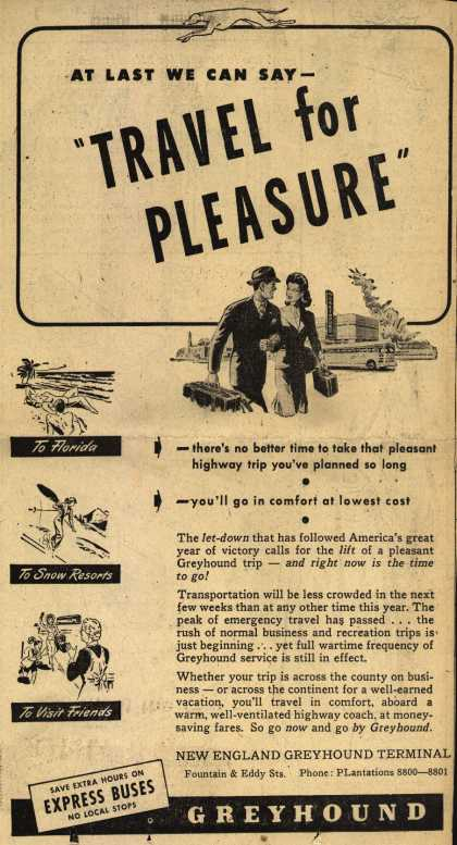 "Greyhound's Vacation Travel – At Last We Can Say- ""Travel for Pleasure"" (1946)"