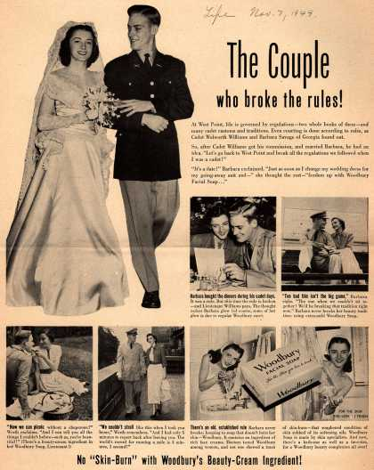 "Woodbury's Facial Soap – The Couple who broke the rules! No ""Skin-Burn"" with Woodbury's Beauty-Cream Ingredient (1949)"