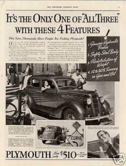 "Plymouth Car Ad ""It's the Only One Of... (1935)"