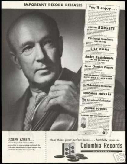 Joseph Szigeti Photo Columbia Record Vintage (1947)