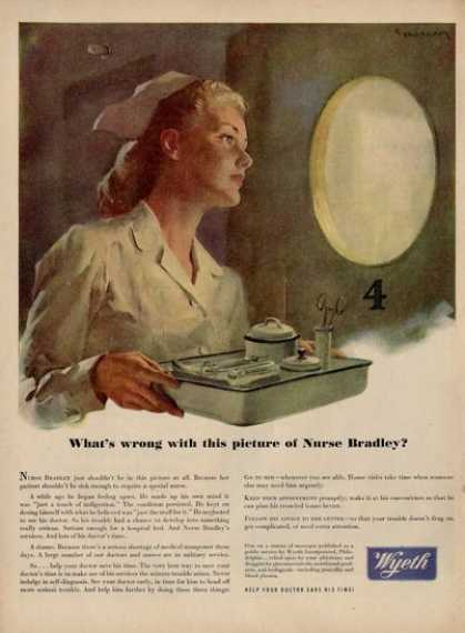 Wyeth Nurse Illustration Picture Ad T (1945)
