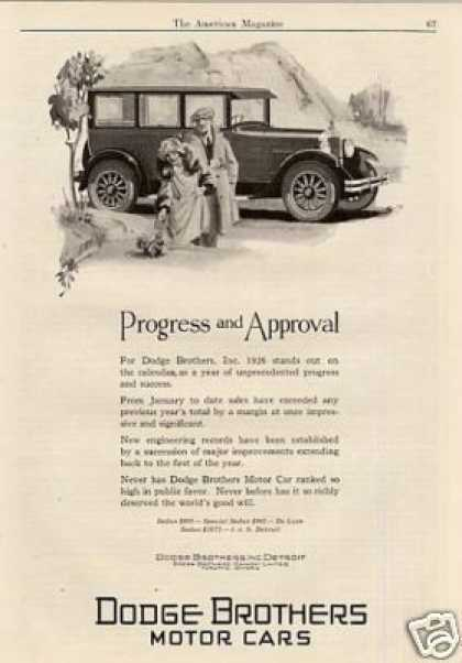 "Dodge Brothers Car Ad ""Progress and Approval... (1926)"