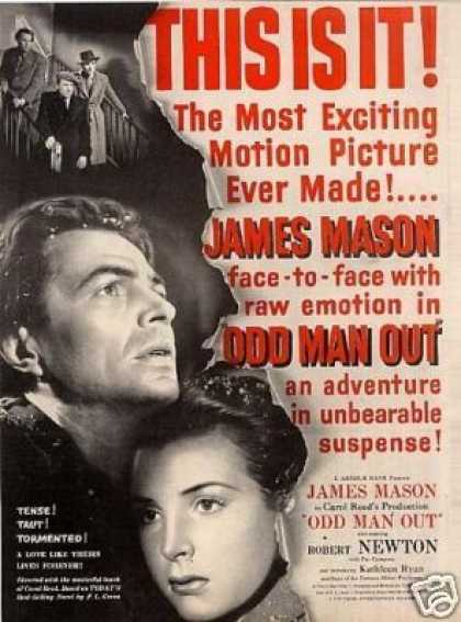 "Movie Ad ""Odd Man Out"" James Mason (1947)"