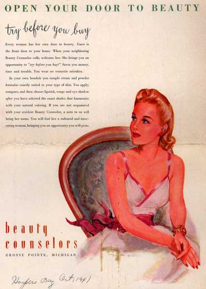 Beauty Counselors – Open Your Door To Beauty, try before you buy (1941)