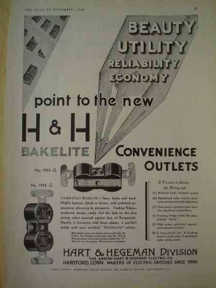 Hart and Hegeman division. H H bakelite convenience outlets. Hartford Conn (1930)