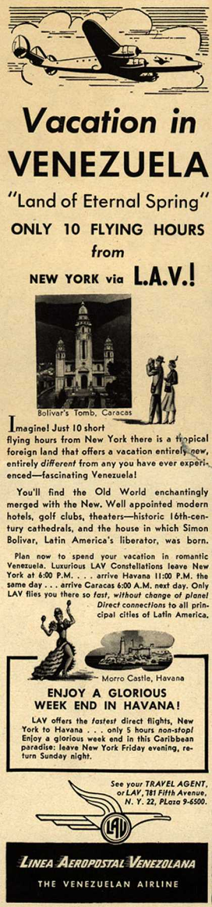 Linea Aeropostal Venezolana- The Venezuelan Airline's Venezuela – Vacation in VENEZUELA (1949)