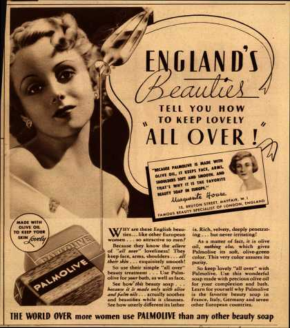"Palmolive Company's Palmolive Soap – England's Beauties Tell You How To Keep Lovely ""All Over!"" (1935)"