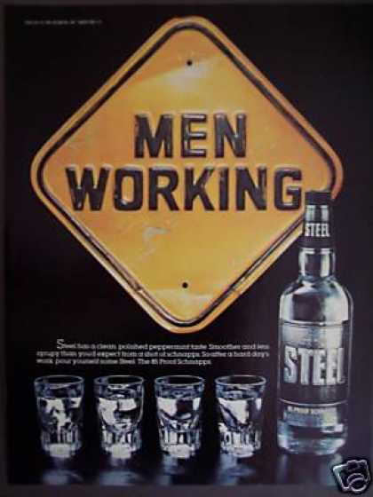 Men Working Sign Steel Schnapps (1982)
