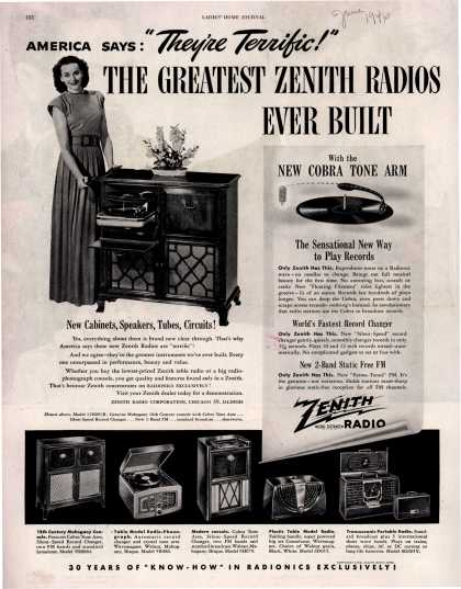"Zenith Radio Corporation's various – America Says:""They're Terrific!"" THE GREATEST ZENITH RADIOS EVER BUILT (1946)"