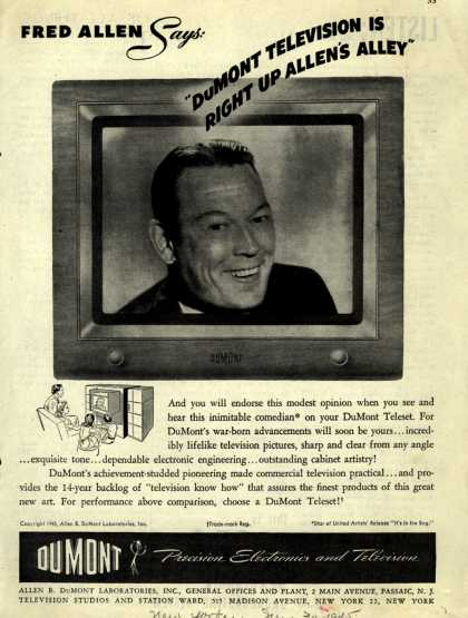 "Allen B. DuMont Laboratorie's DuMont Teleset Television – Fred Allen Says: ""DuMont Television is Right Up Allen's Alley."" (1945)"