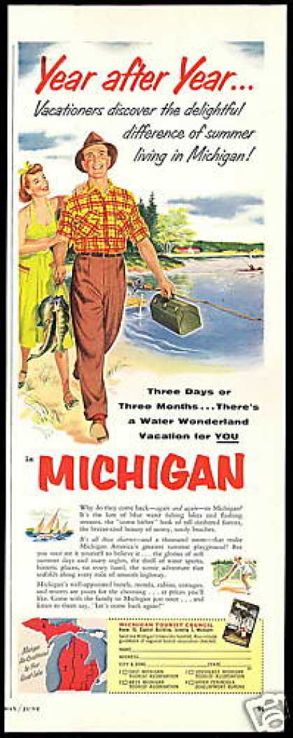 Michigan Travel Vacation Fisherman (1954)