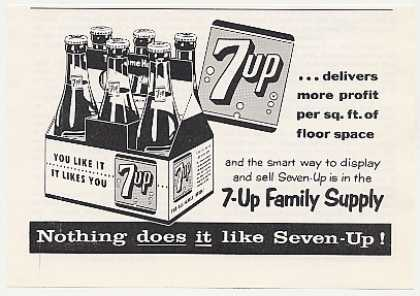 7-Up Seven-Up Family Supply 6-Pack Bottle Trade (1959)