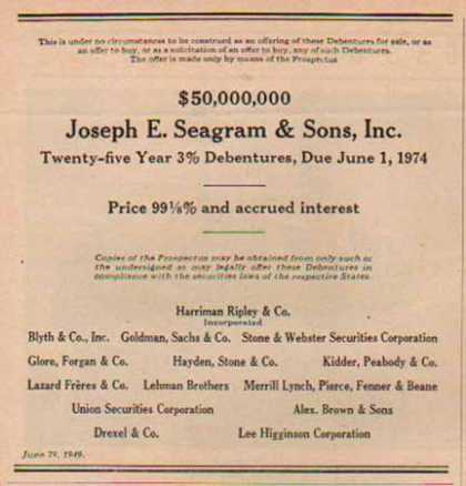 Seagram Securities – Joseph S. Seagram & Sons Inc (1949)