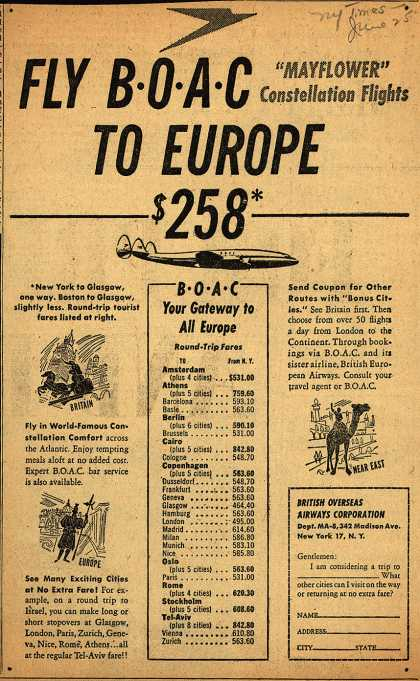 British Overseas Airways Corporation's Europe – FLY BOAC TO EUROPE (1953)