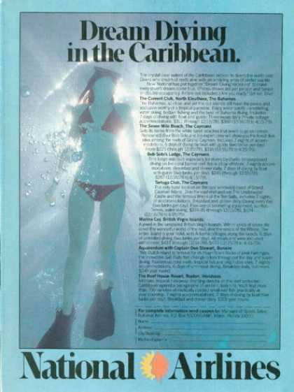 National Airlines Caribbean Snorkel Ad T (1978)