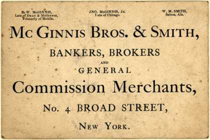 McGinnis Bros. & Smith – McGinnis Bros. & Smith, Bankers, Brokers, and General Commission Merchants
