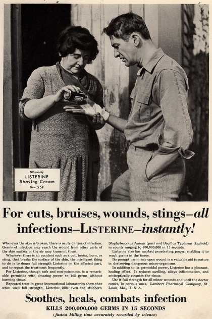 Lambert Pharmacal Company's Listerine – For cuts, bruises, wounds, stings – all infections – Listerine – instantly (1930)
