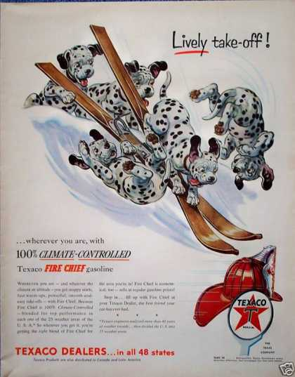 Texaco Fire Chief Dalmatian Puppies Snow Ski (1954)