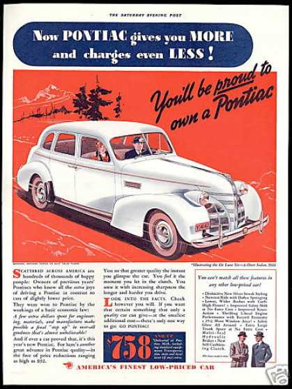 Pontiac De-Luxe Six Sedan Vintage Print Car (1939)