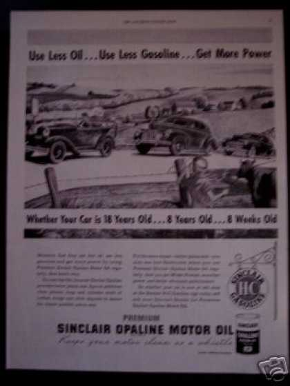 Sinclair Opaline Motor Oil Use Less Gas (1948)